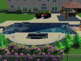 3d rendering with pool, house, bar, and seating area