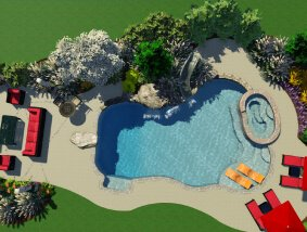 areal 3d rendering of pool, hot tub and seating area