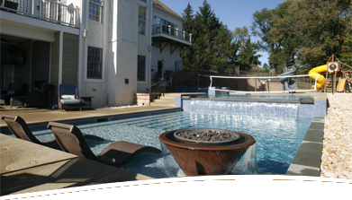 pool, spa and landscaping