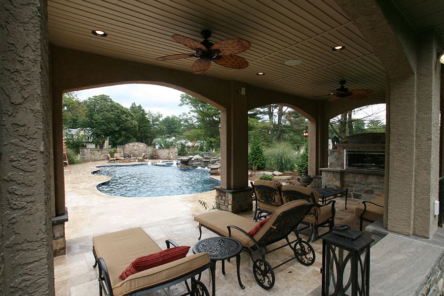 fully covered cabana with fan and grill