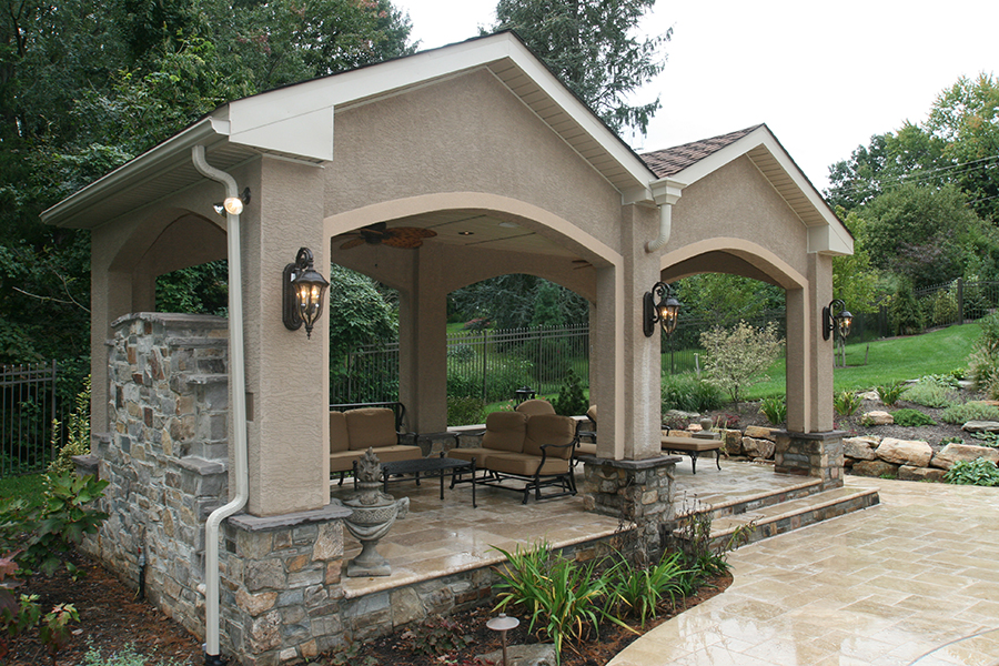 covered cabana with stucco