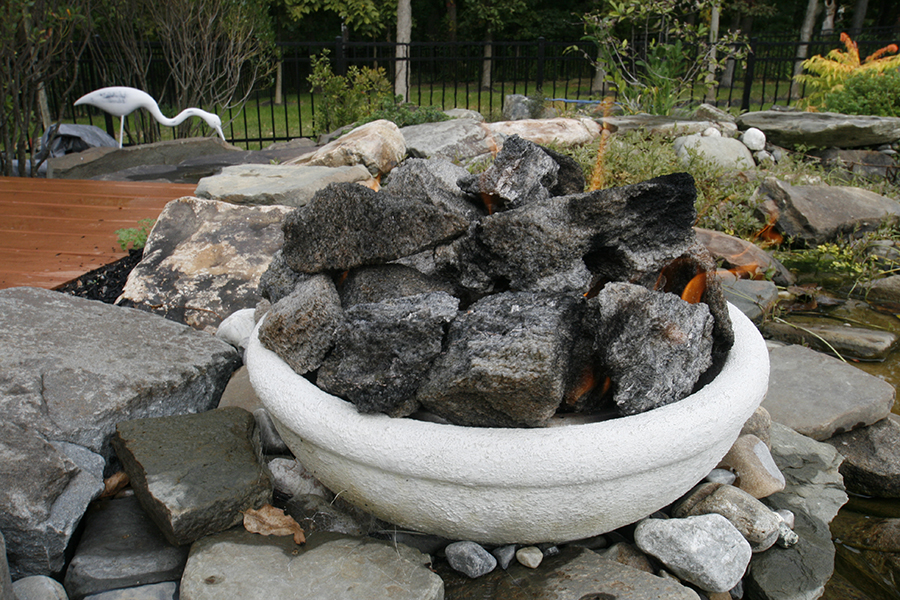 fire pit with stones