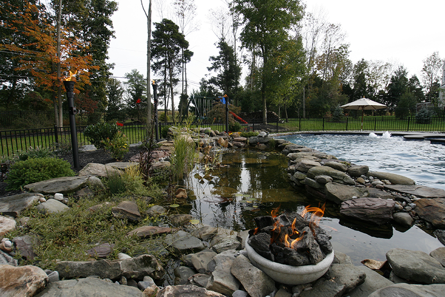 fire pit, pond and pool