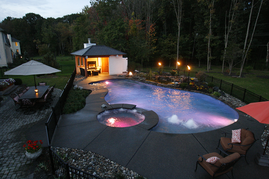 fire pit with lit pool