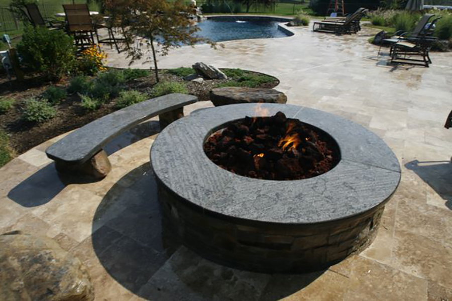 slate fire pit with bench