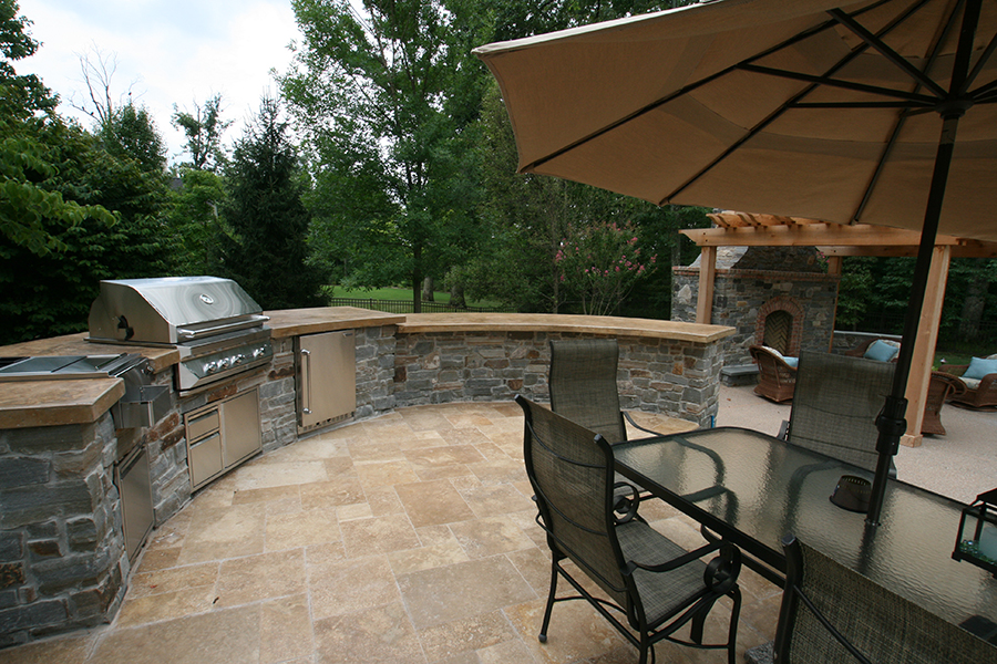grill station and patio seating