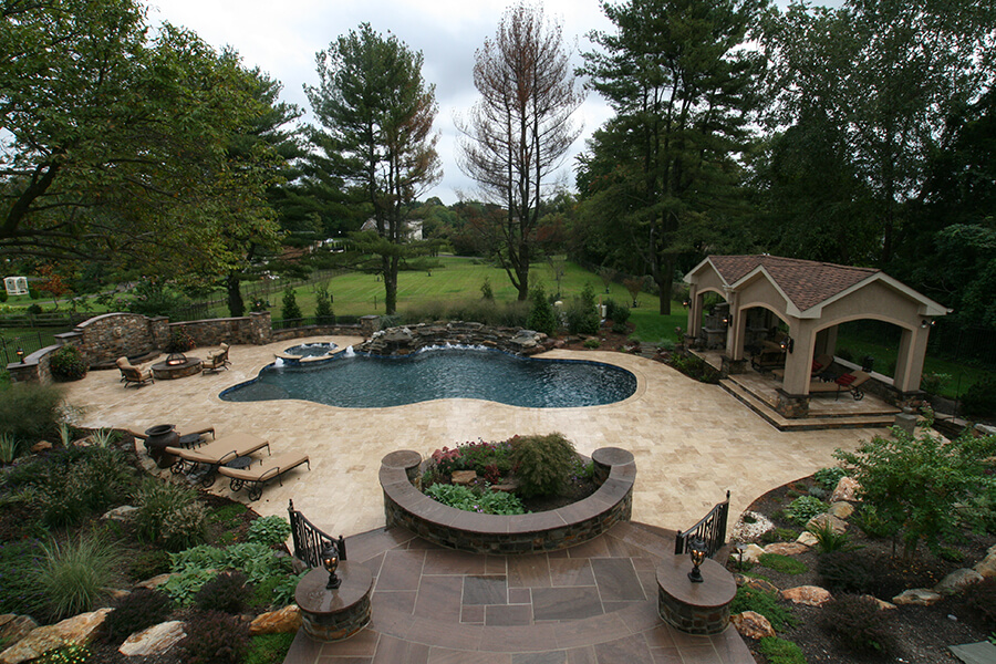 backyard pool with landscaping