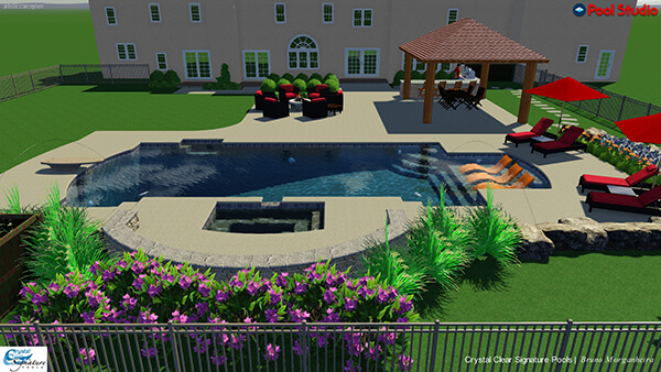 pool studio 3d rendering