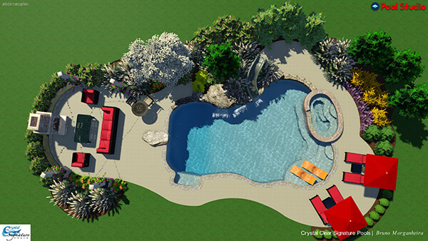 3d backyard rendering with pool