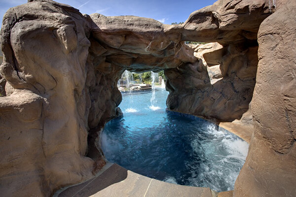 view of cave in a pool